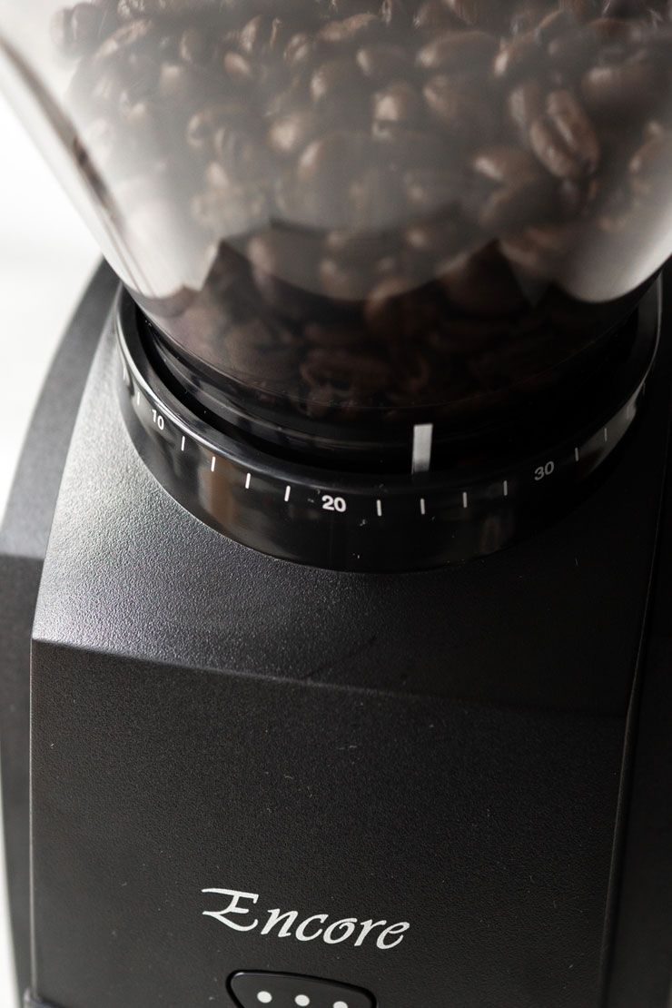 Baratza coffee grinder closeup.
