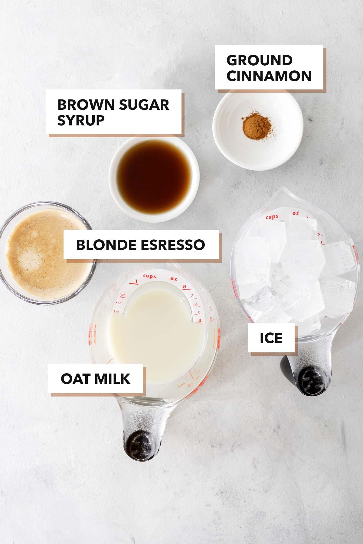 Starbucks Iced Brown Sugar Oatmilk Shaken Espresso copycat drink recipe ingredients.