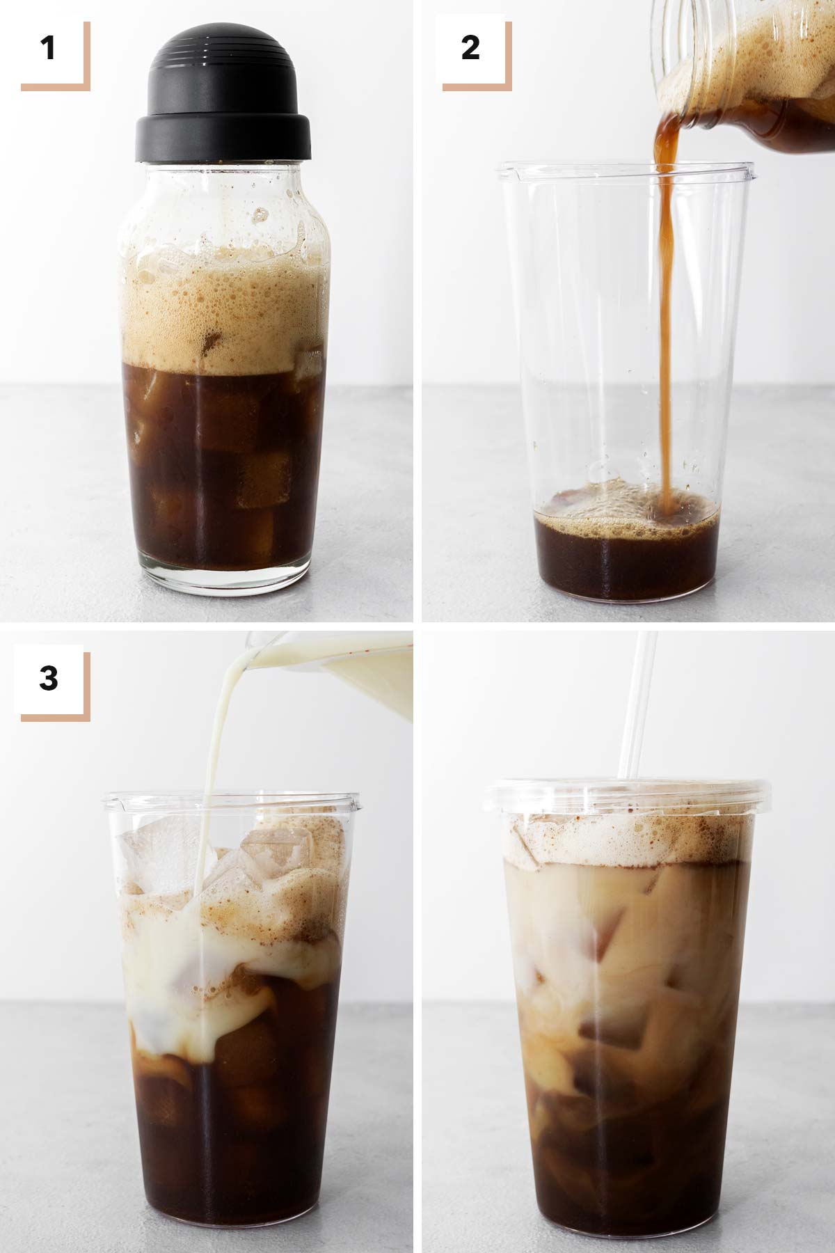 Iced Brown Sugar Oatmilk Shaken Espresso drink steps in a four photo collage.
