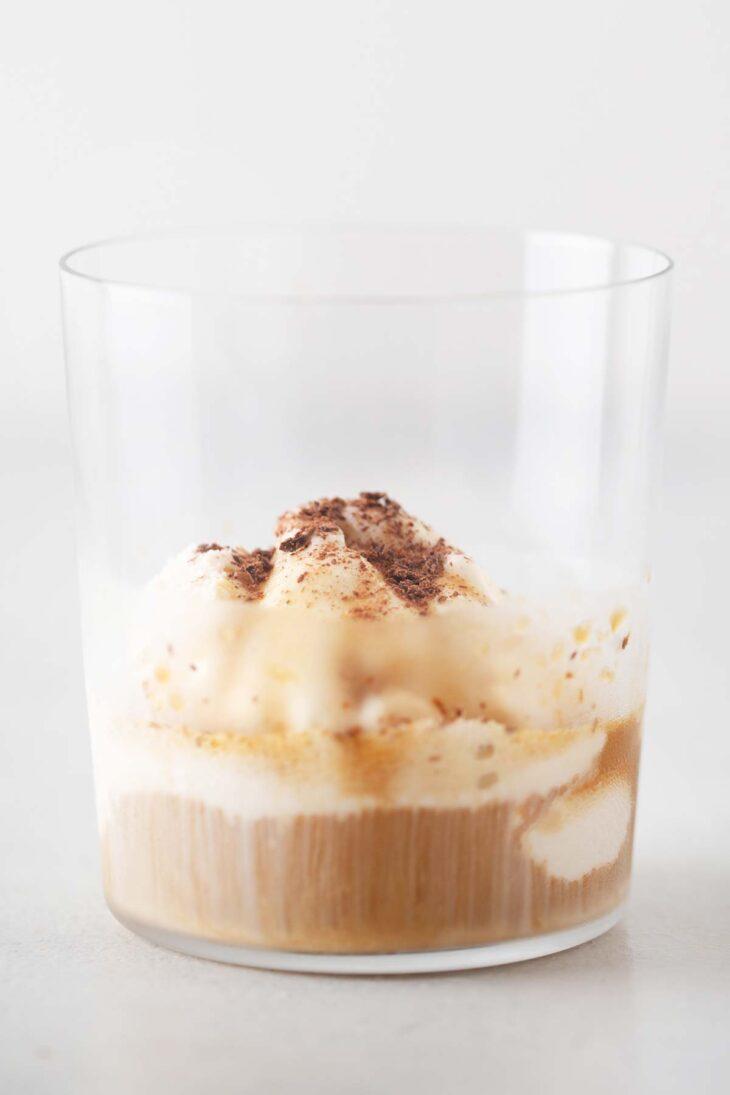 Affogato in a glass cup.