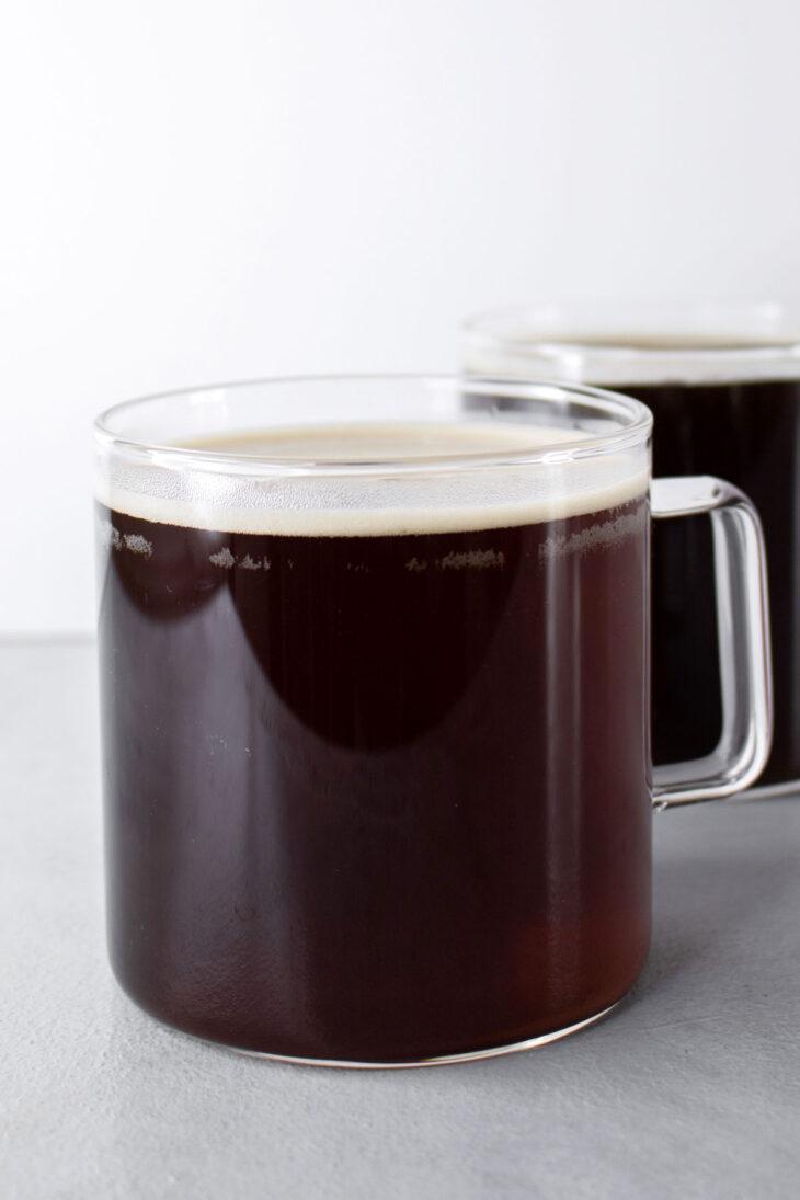 Americano coffee in 2 glass mugs.