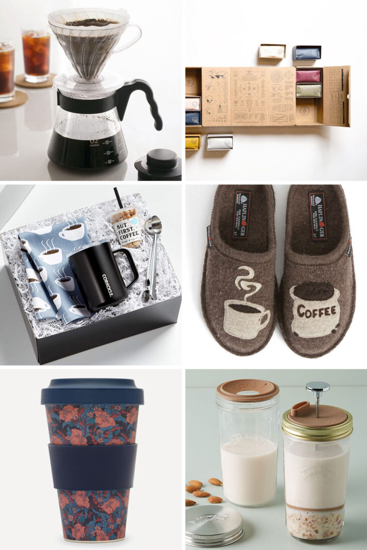 6 photos with 6 coffee gifts.