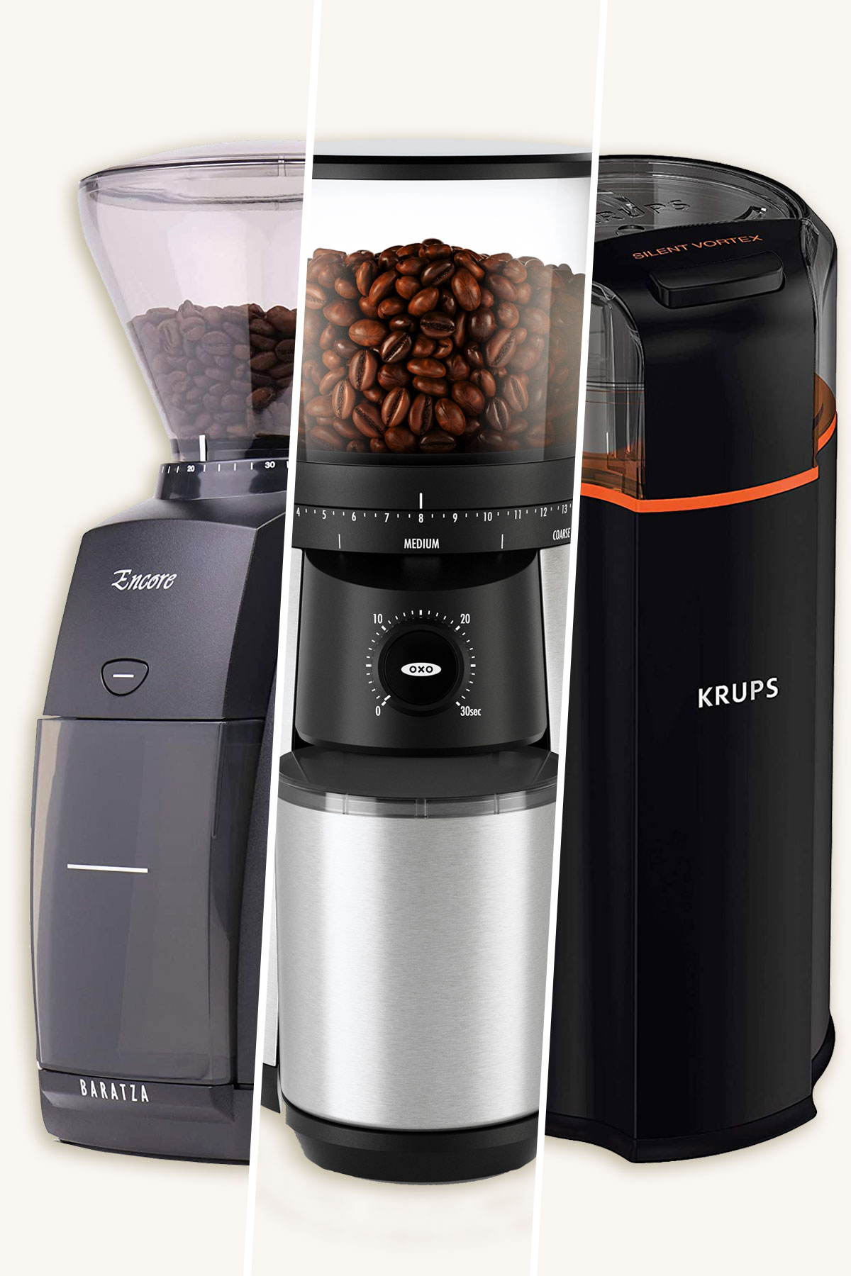 Three different coffee grinders.
