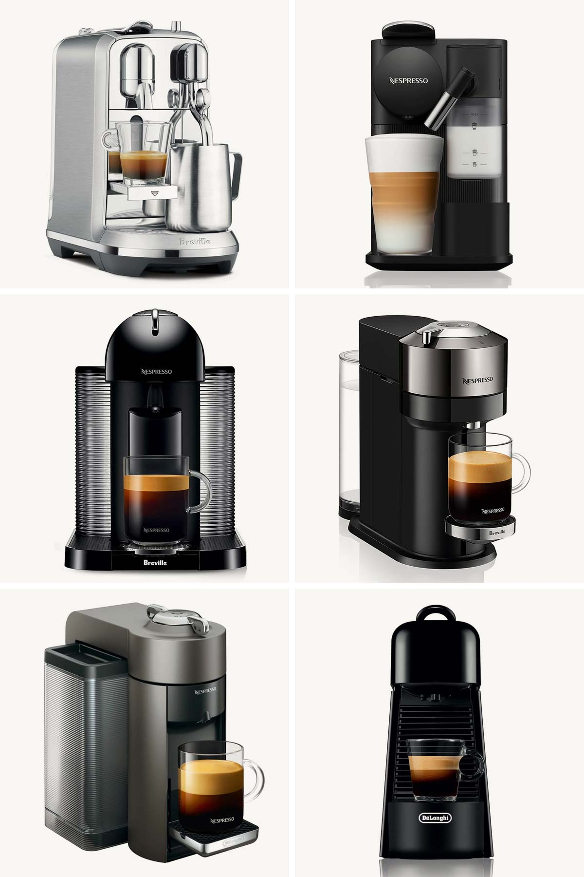 Six photo collage showing six Nespresso machines.