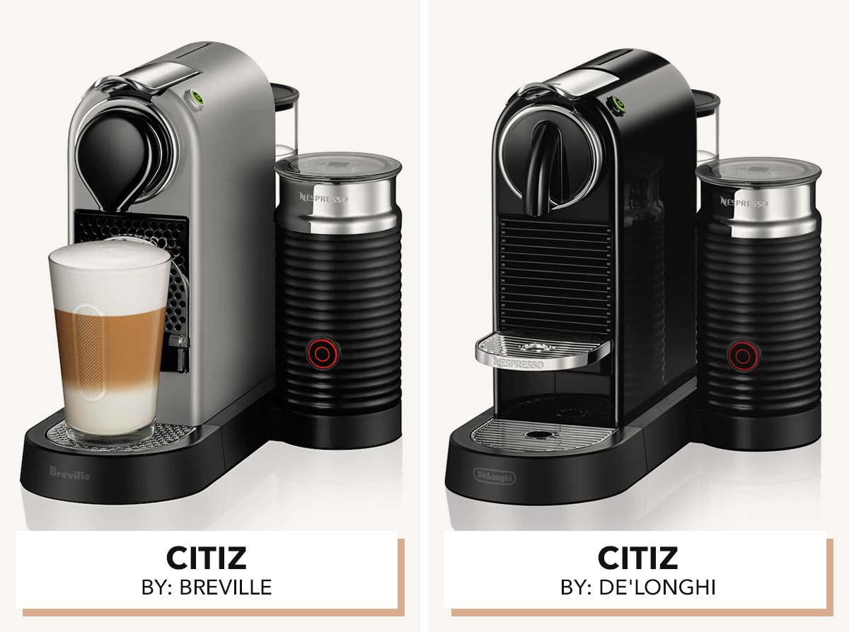 Two photos showing Nespresso CitiZ models by Breville and De'Longhi.