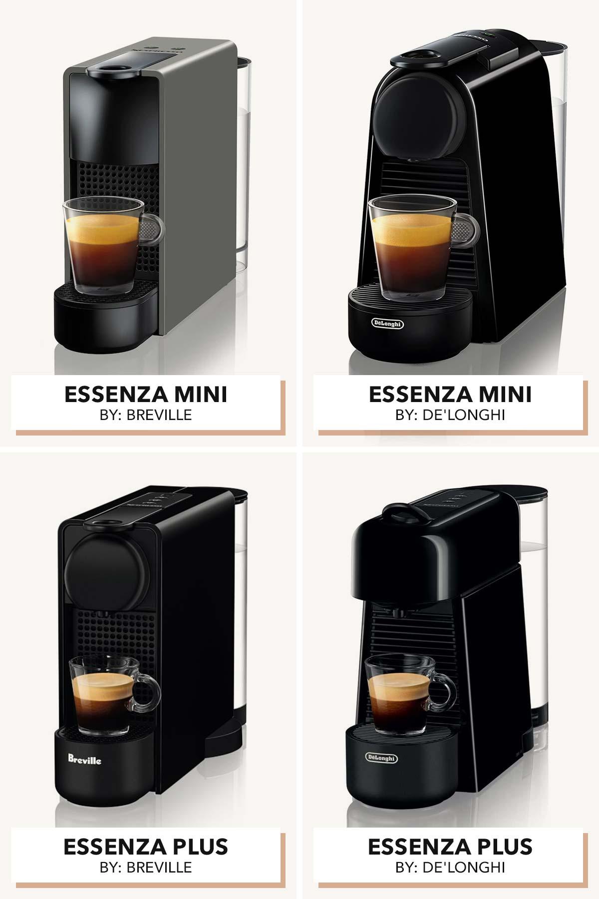 Four Nespresso Essenza models by Breville and De'Longhi.