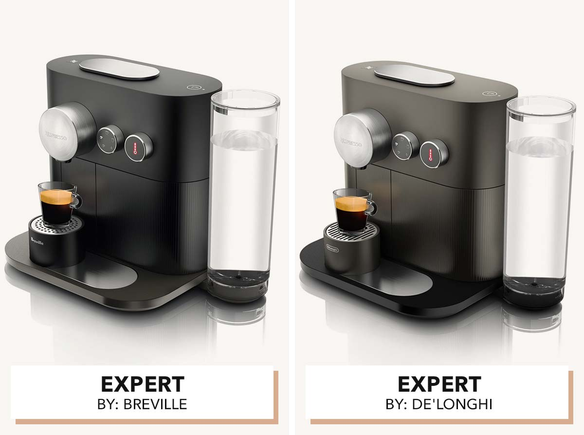 Two photos of Nespresso Expert models by Breville and De'Longhi side by side.