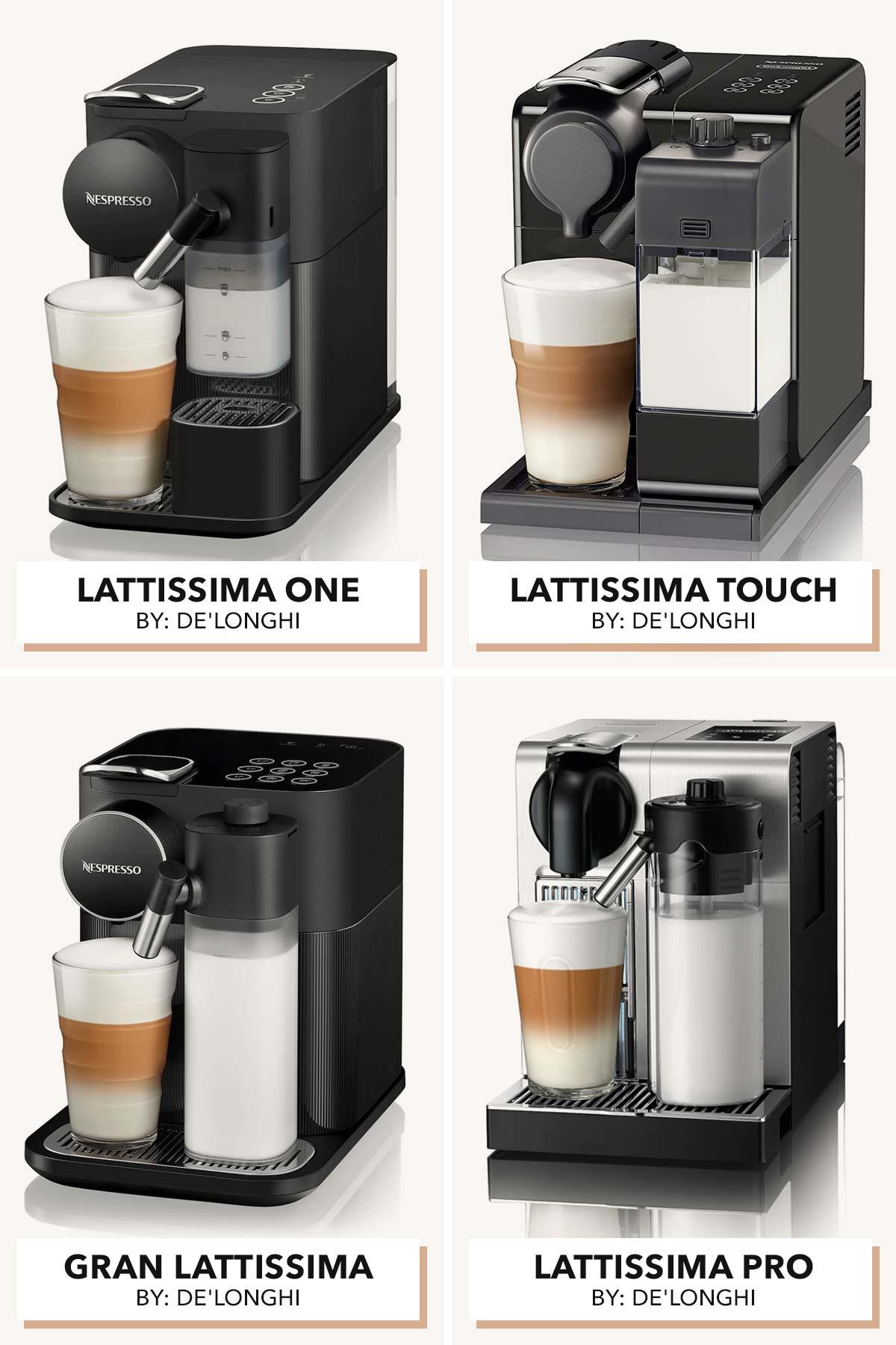Four photo collage of Nespresso Lattissima models.