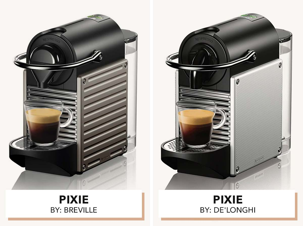 Two photos showing Nespresso Pixie machines side by side.