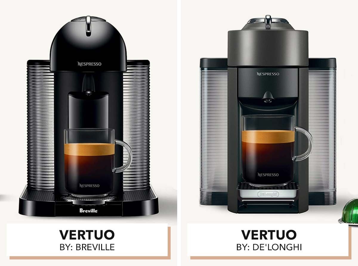 Two photos of Vertuo Nespresso machines side by side.