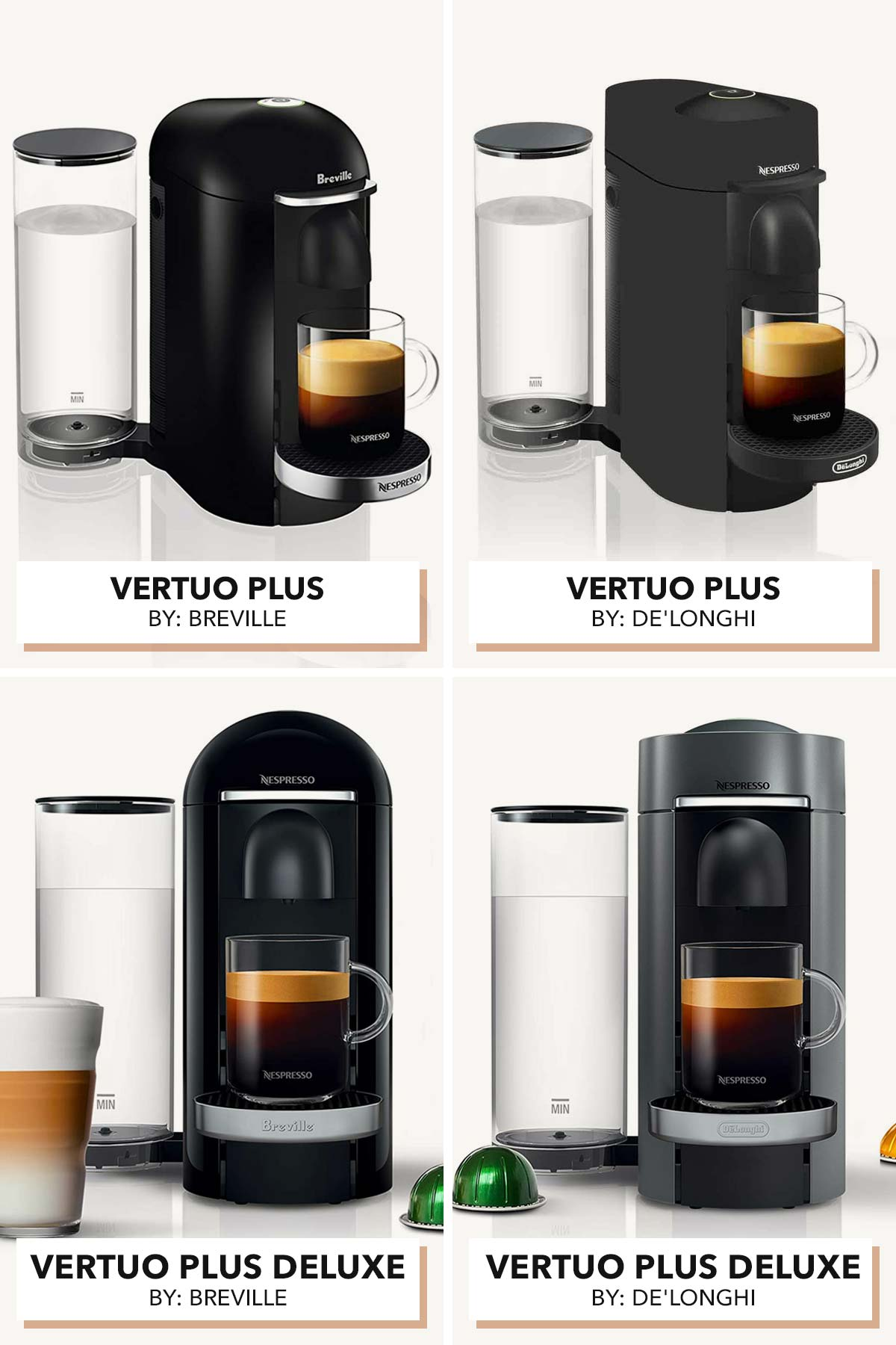 Four photos of the Nespresso Vertuo Plus machines made by Breville and De'Longhi.
