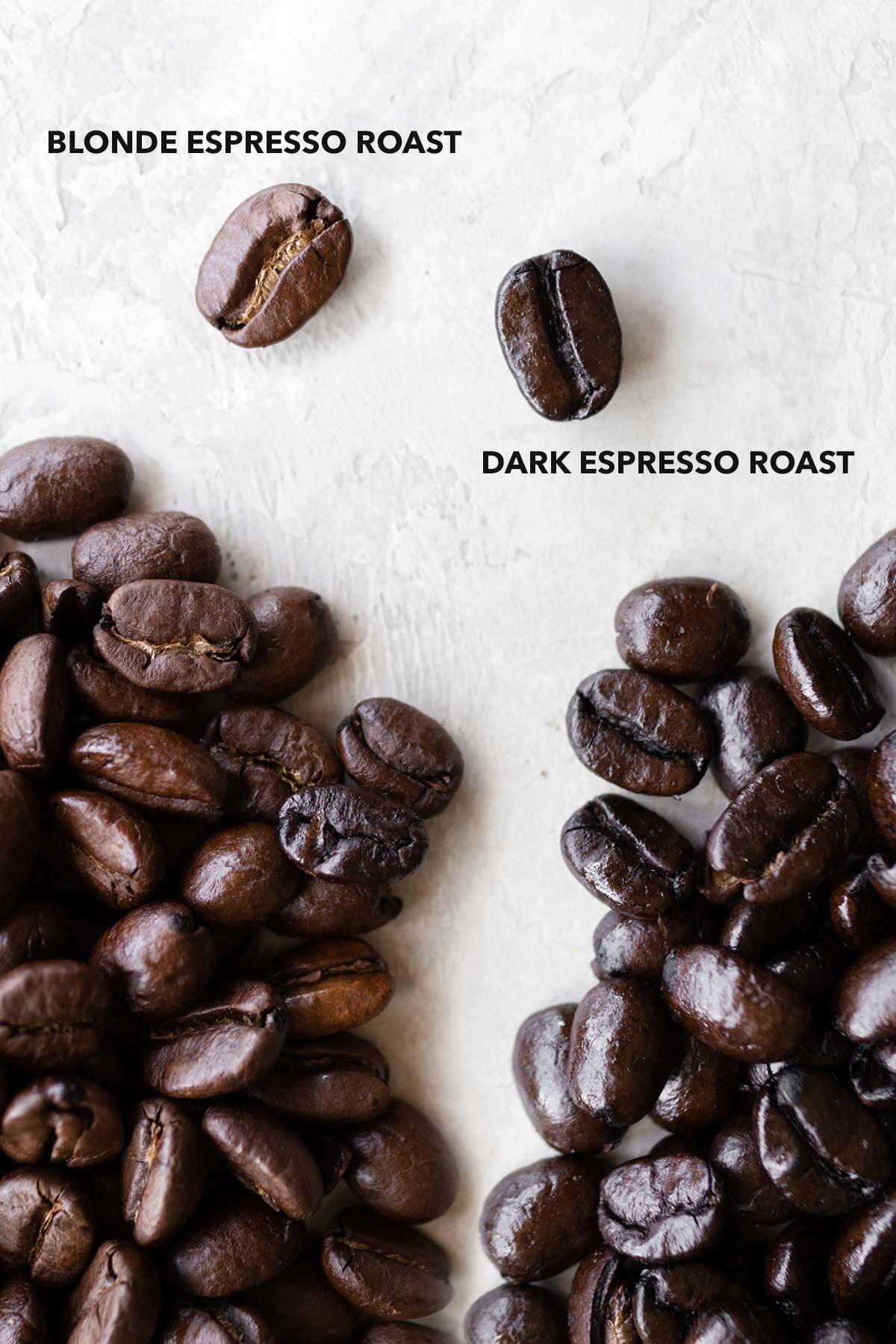 Blonde espresso roast and dark espresso roast coffee beans.