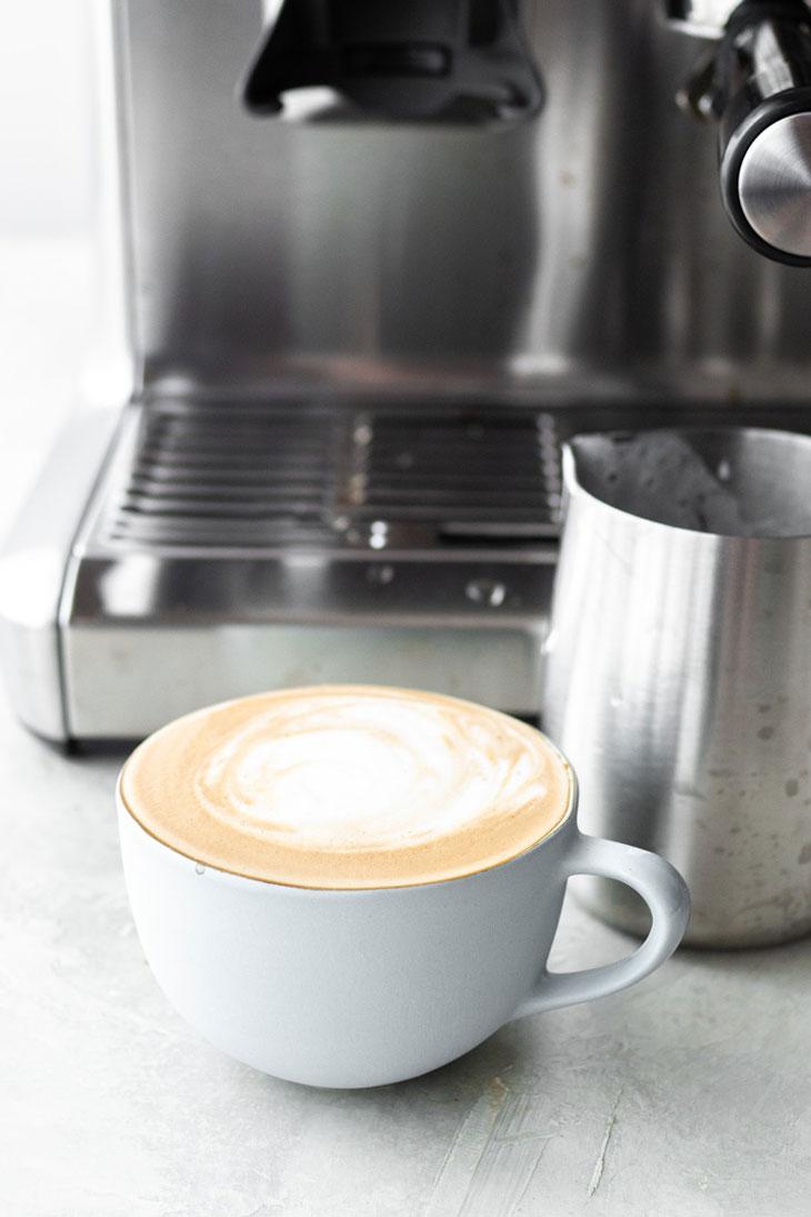 Latte made in an espresso machine.