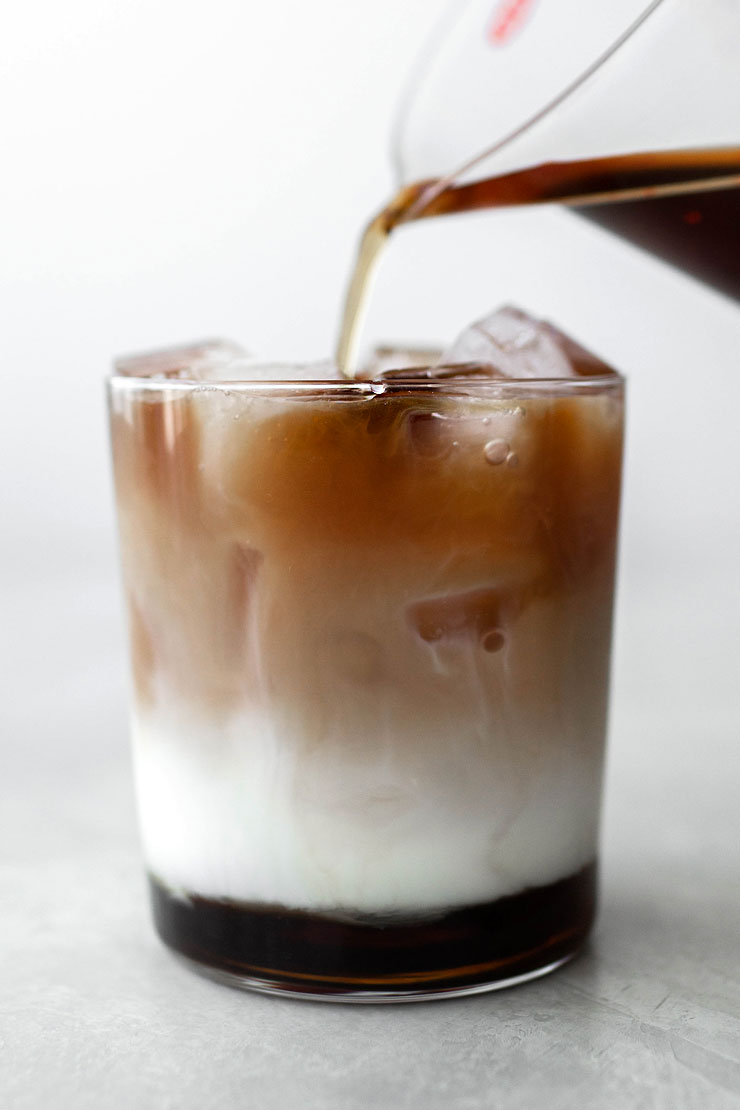 Layered iced coffee with brown sugar