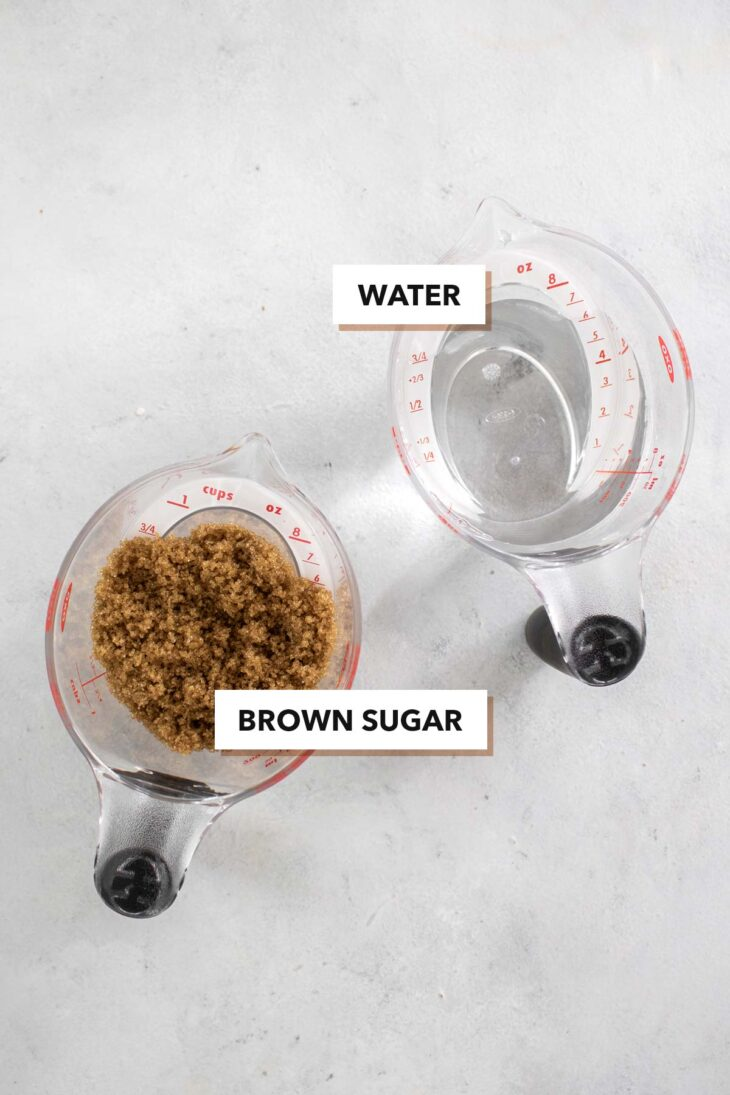 Brown sugar syrup ingredients.