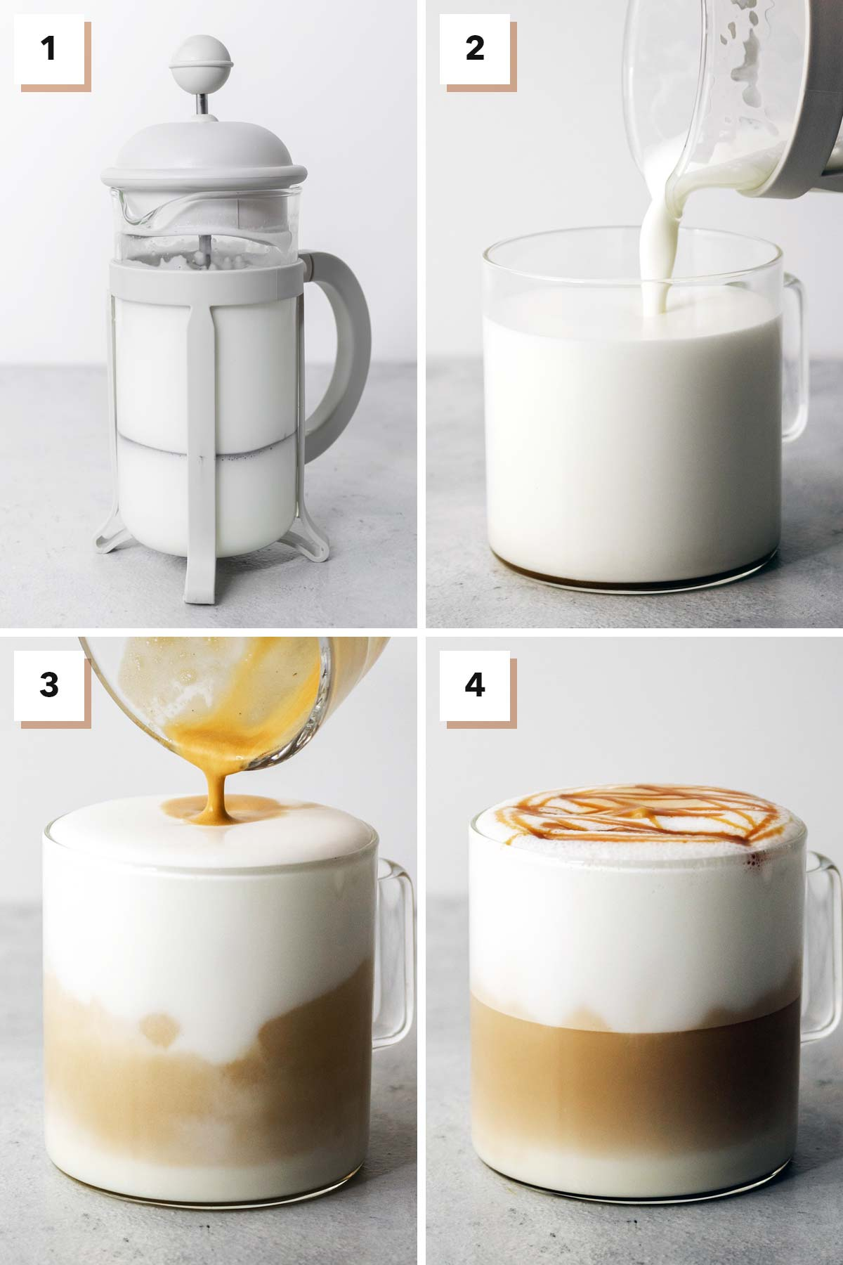 Four photo collage with steps to make Caramel Macchiato.