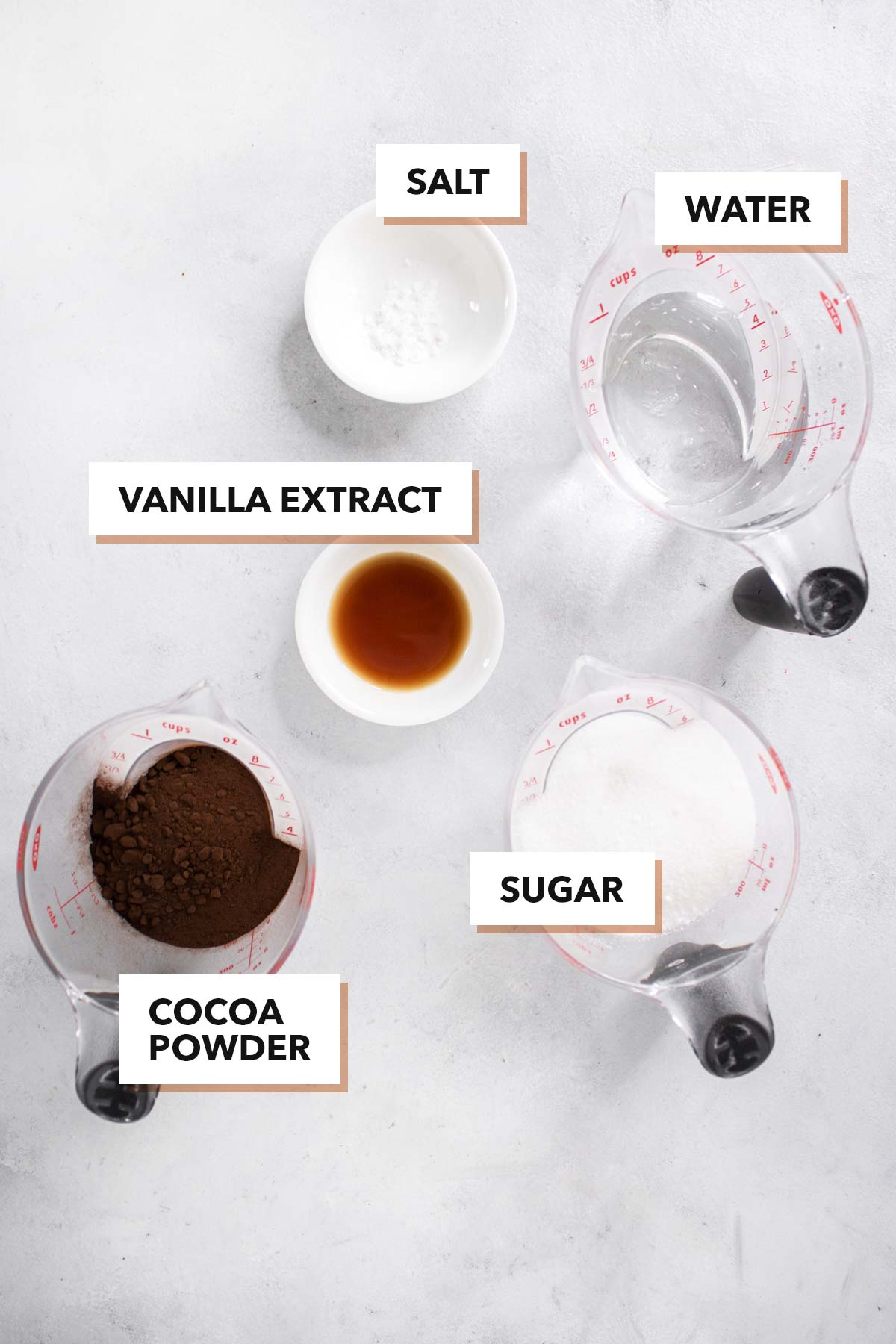 Chocolate syrup ingredients.