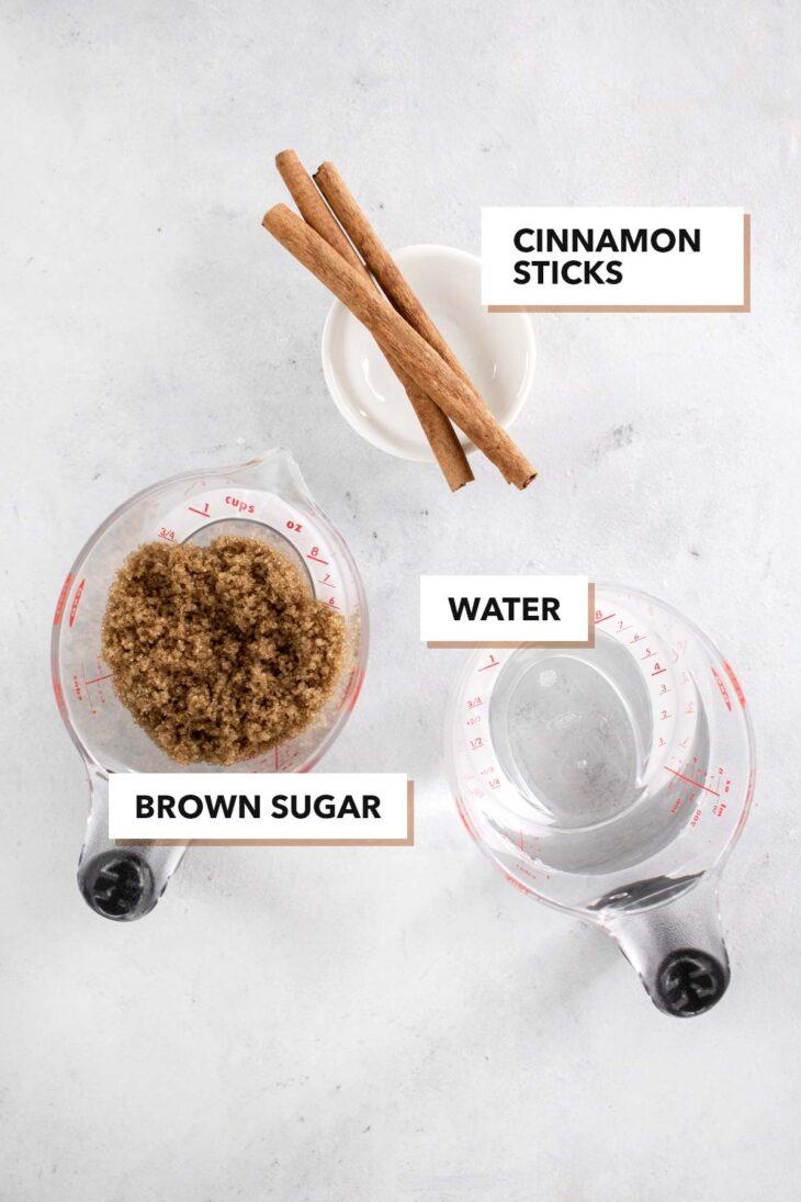 Cinnamon syrup ingredients.
