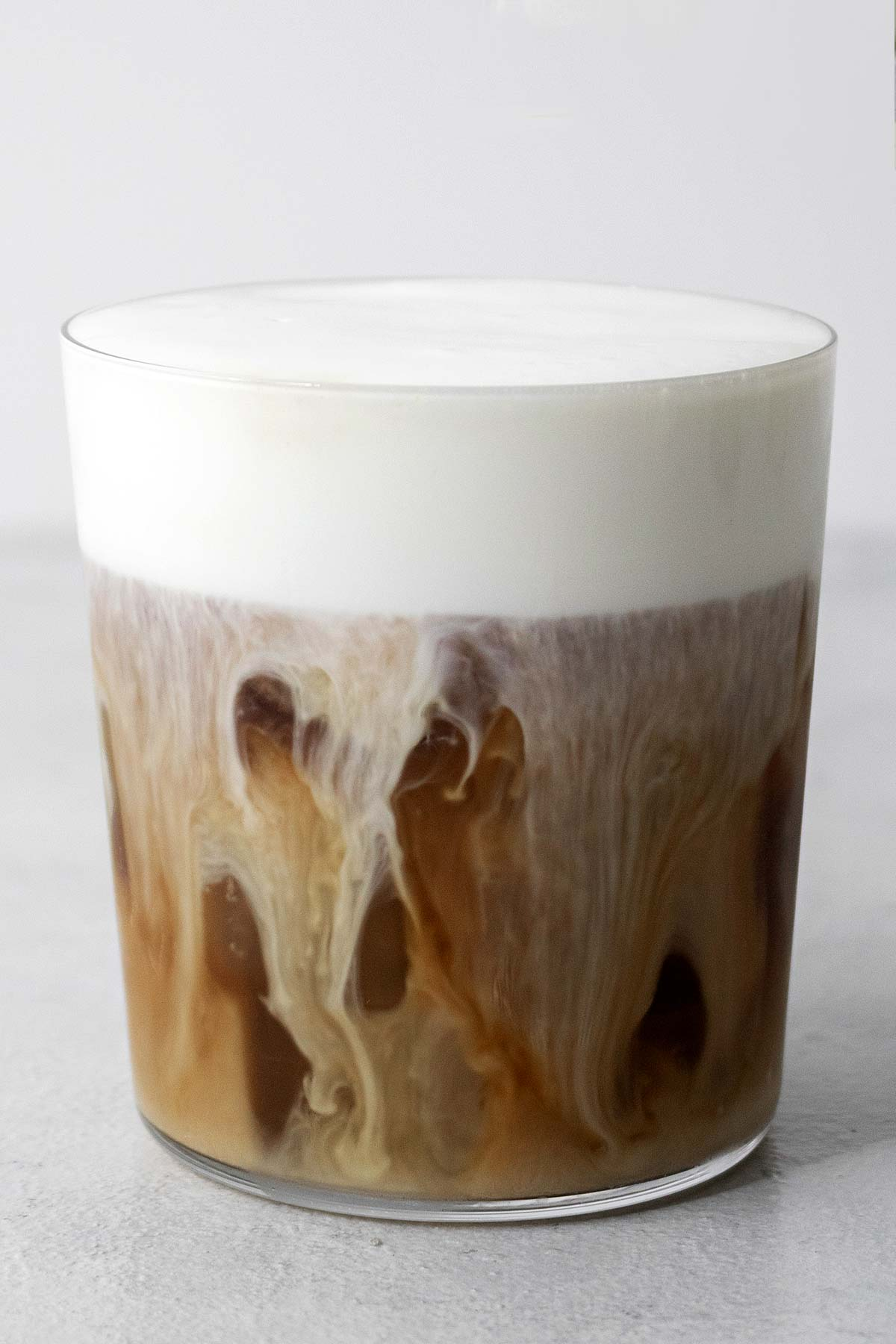 Iced coffee with cold foam.