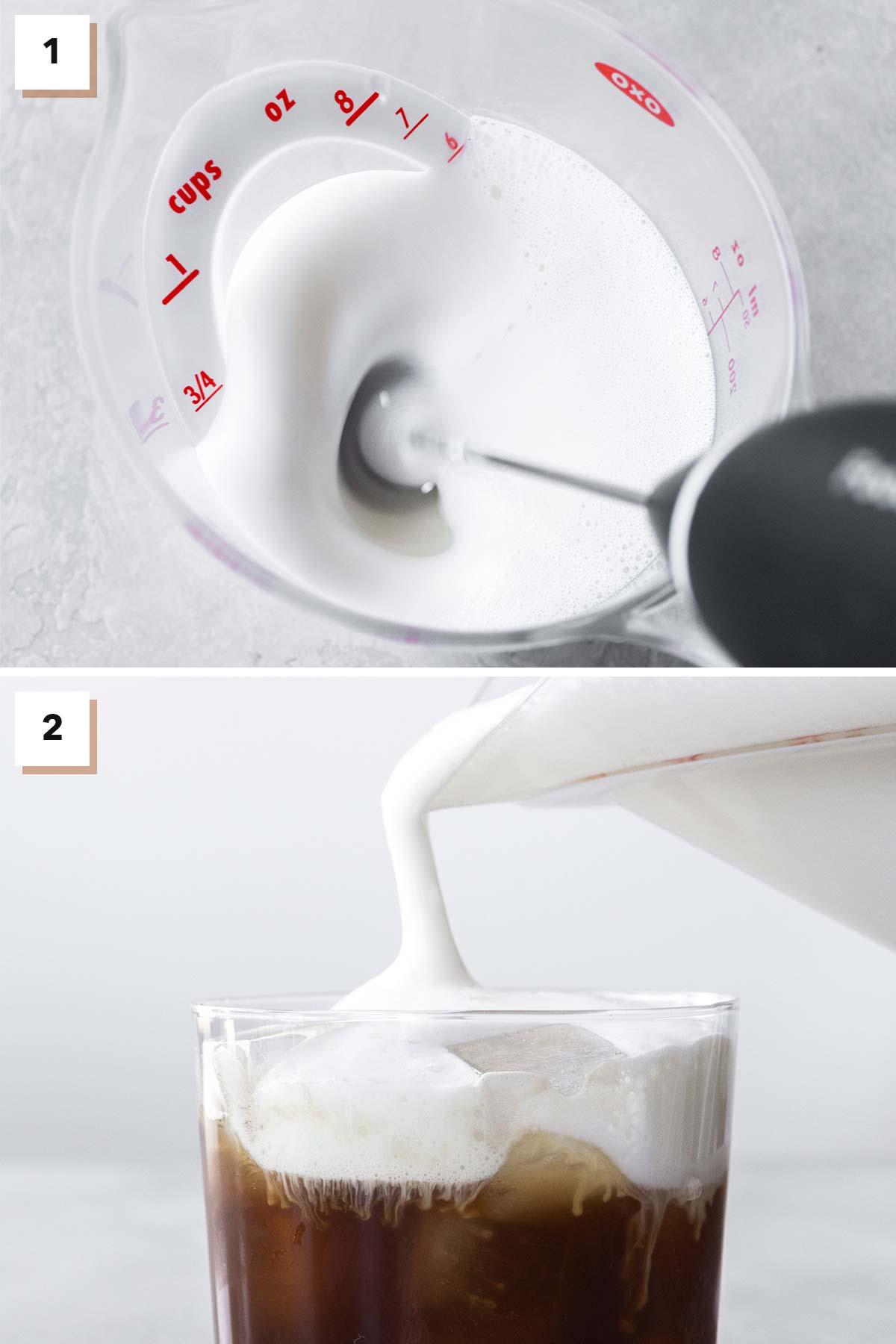 Two photo collage showing steps to make cold foam using a handheld milk frother.