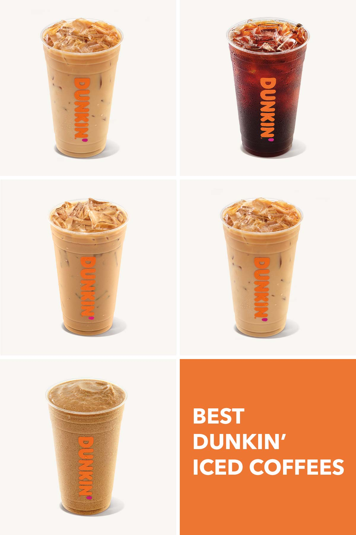 Five photos of Dunkin' drinks.