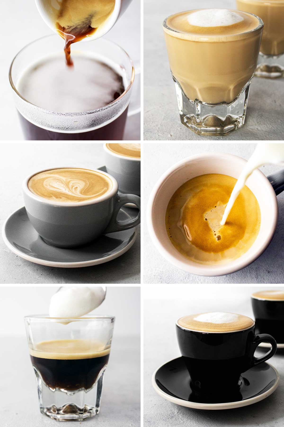 6 photos of different coffee drinks.