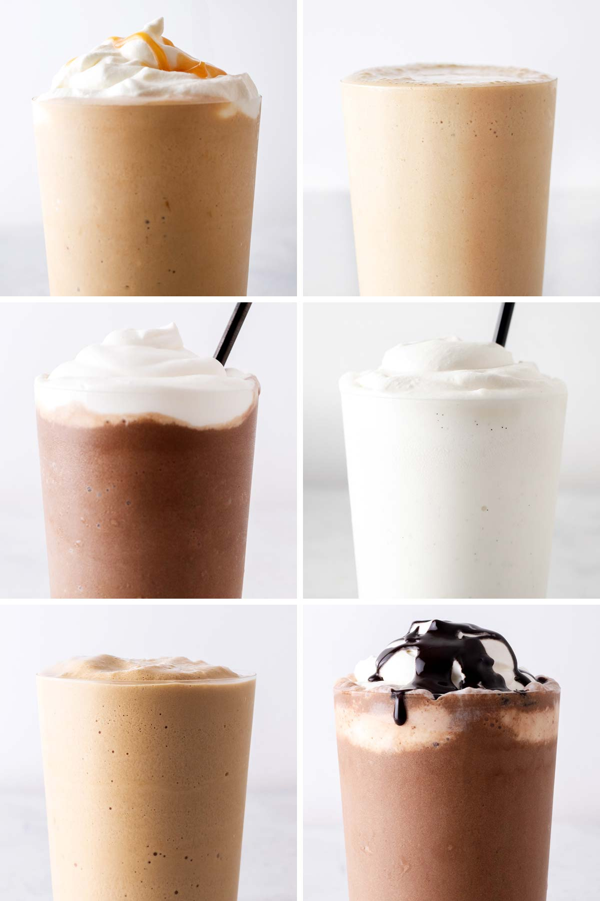 Six photo grid showing six different Frappuccino drinks.