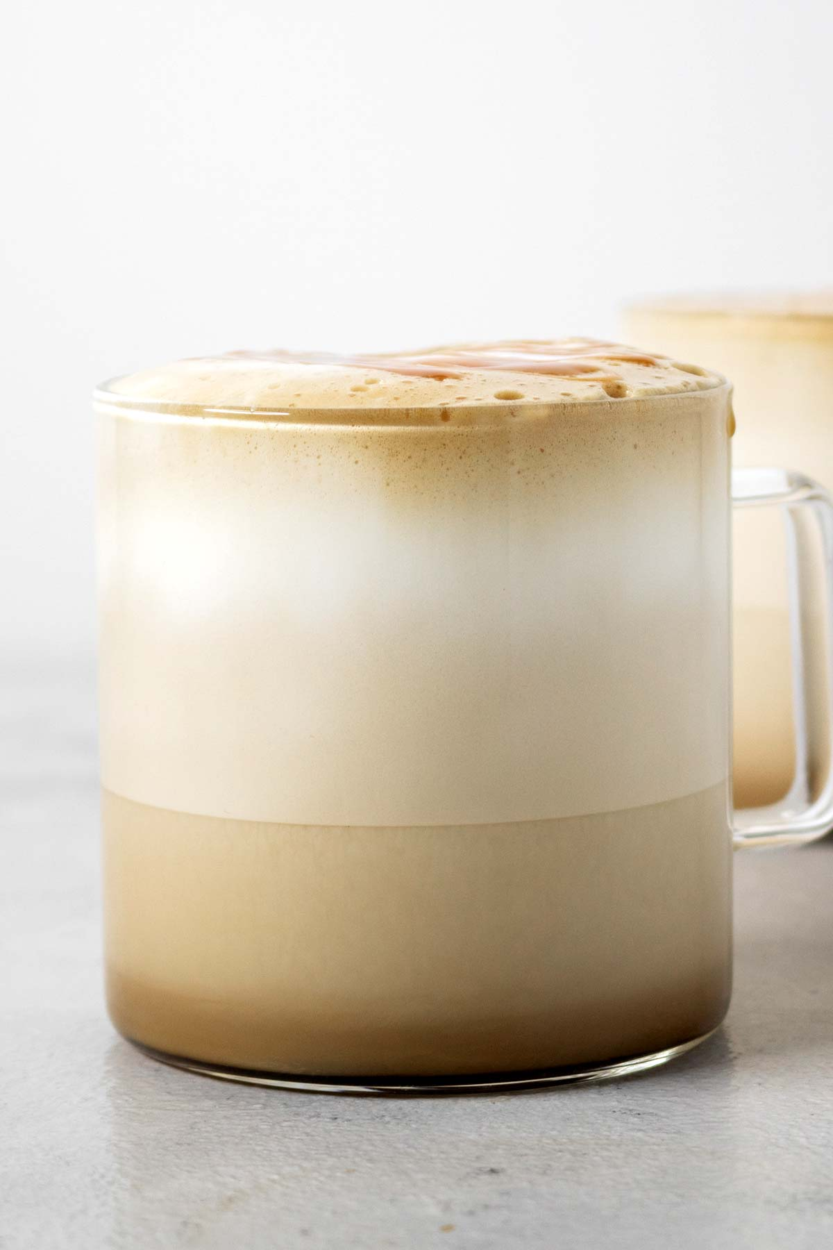 Frothed milk in a latte.
