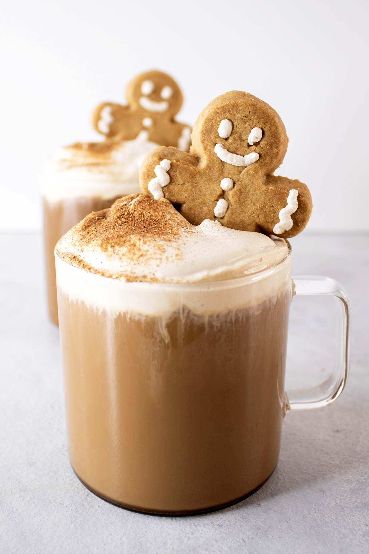 Gingerbread lattes in glass mugs.