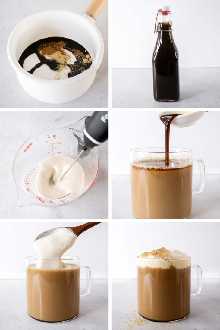 Six photos showing step-by-step process to make gingerbread latte.