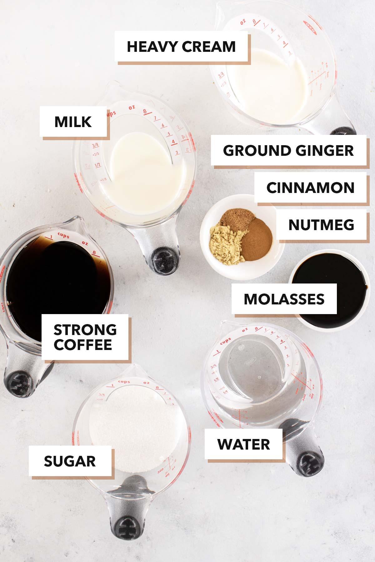 Gingerbread latte ingredients.