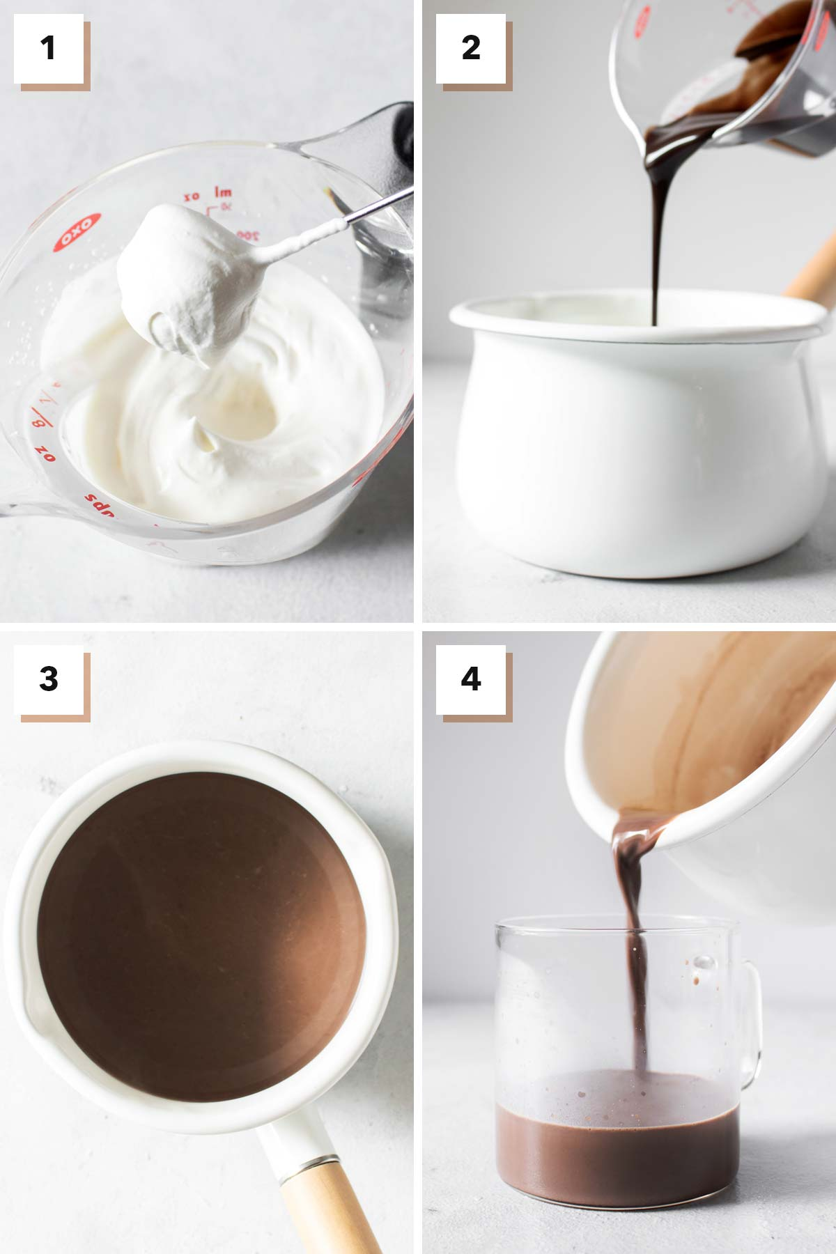Four photos showing the steps to make hot chocolate.