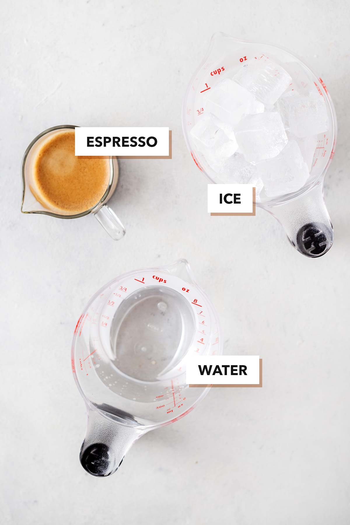 Iced Americano ingredients.