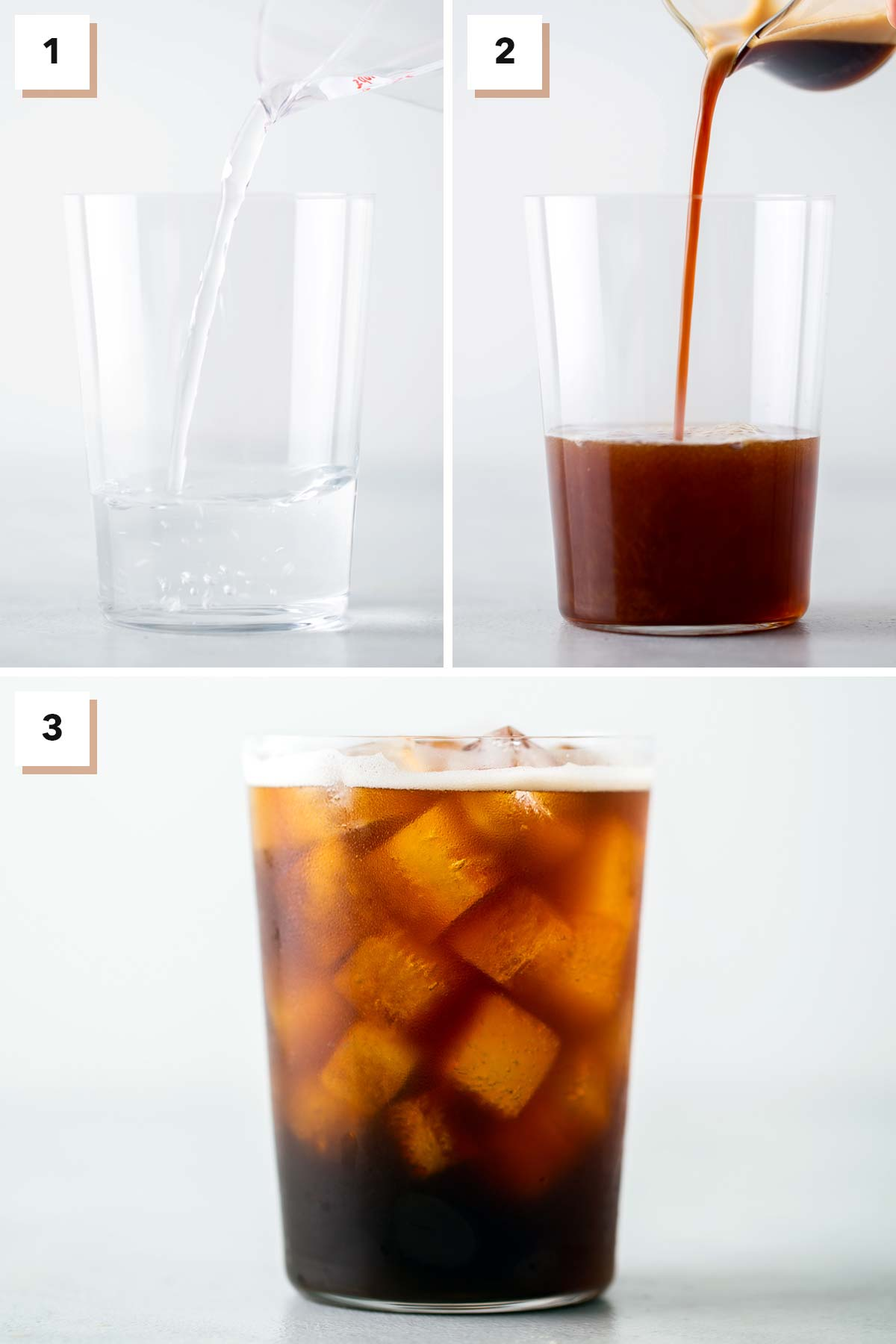 Steps to make an Iced Americano at home.