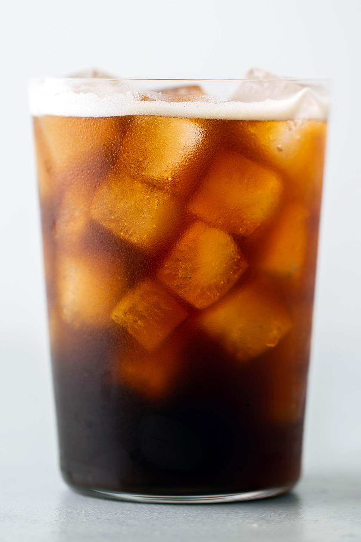 Iced Americano in a cup.