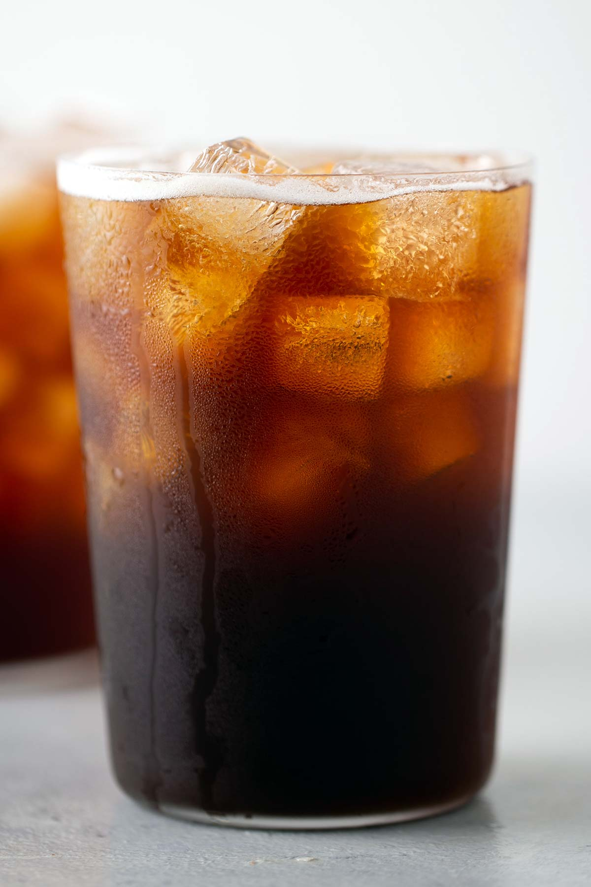 Homemade Iced Americano in glass cups.