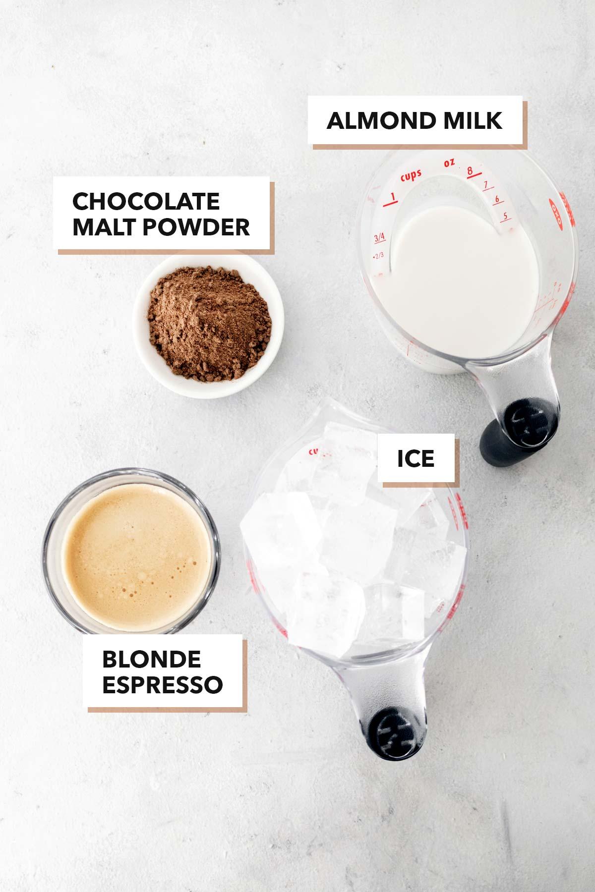 Starbucks Iced Chocolate Almondmilk Shaken Espresso Copycat ingredients.