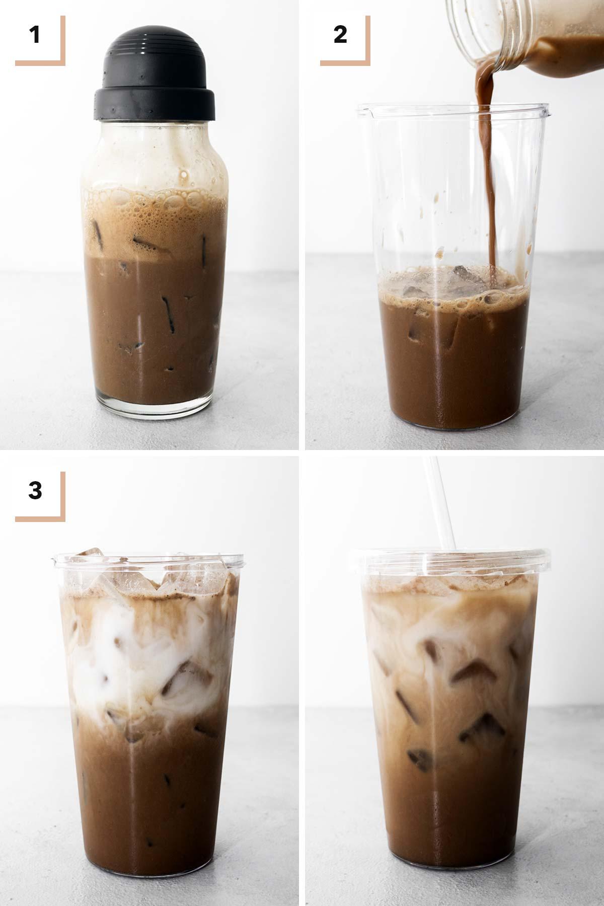 Four photo collage showing steps to make Starbucks Iced Chocolate Almondmilk Shaken Espresso Copycat.
