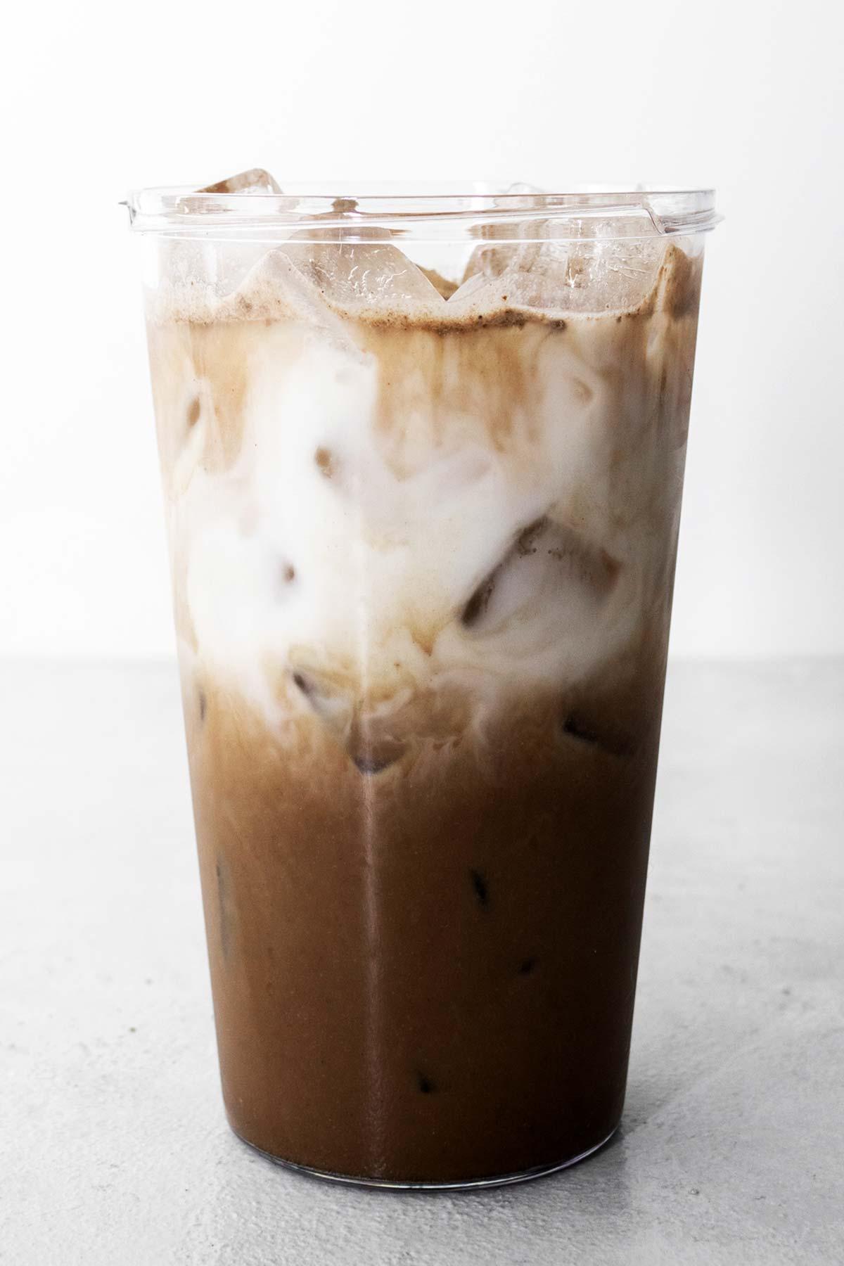 Starbucks Iced Chocolate Almondmilk Shaken Espresso Copycat drink in a cup.