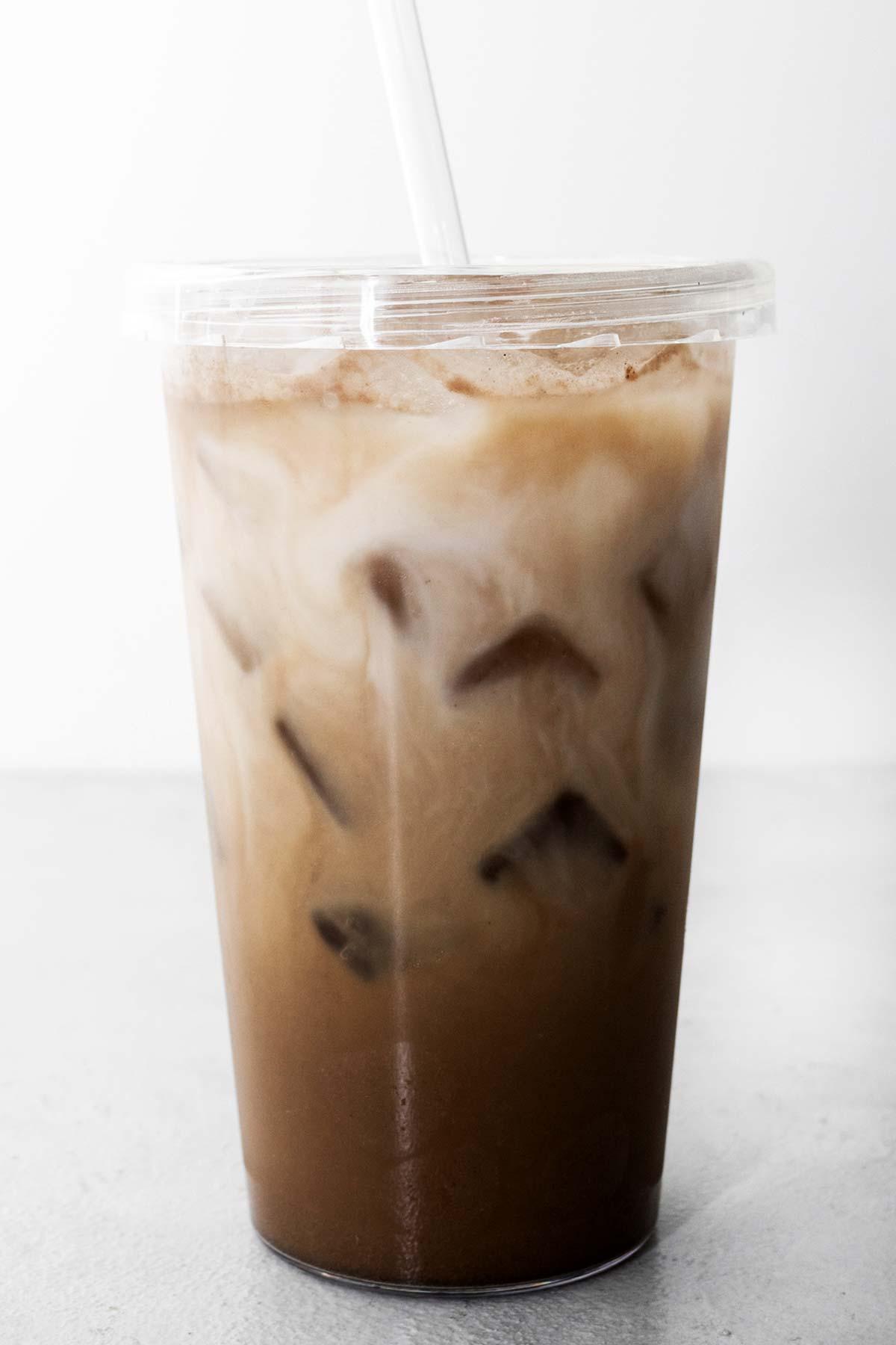 Starbucks Iced Chocolate Almondmilk Shaken Espresso Copycat drink in a cup with a straw.