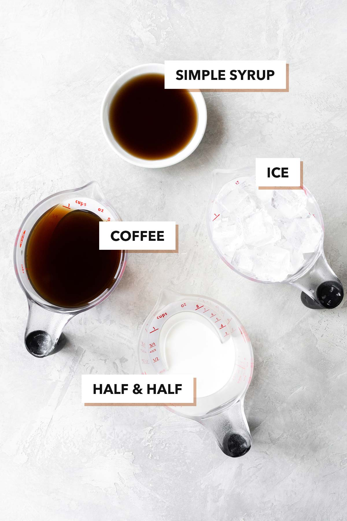 Iced coffee ingredients.