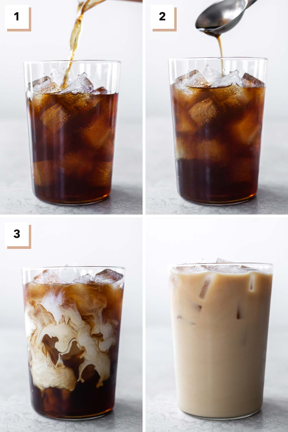 Four photo collage showing steps to make iced coffee.