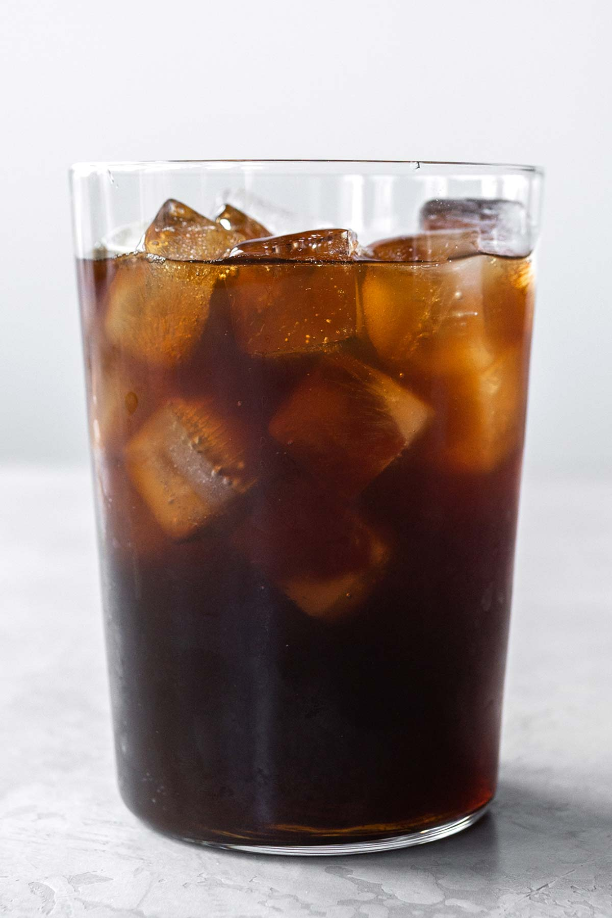 Iced coffee in a tall glass.