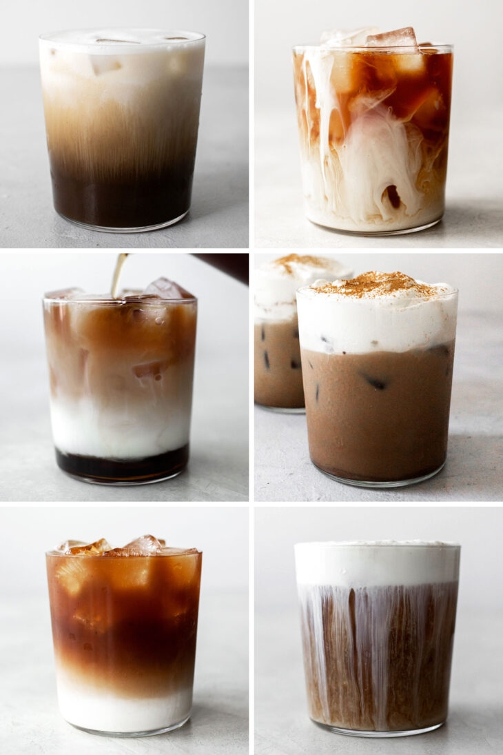6 photos with different iced coffees.