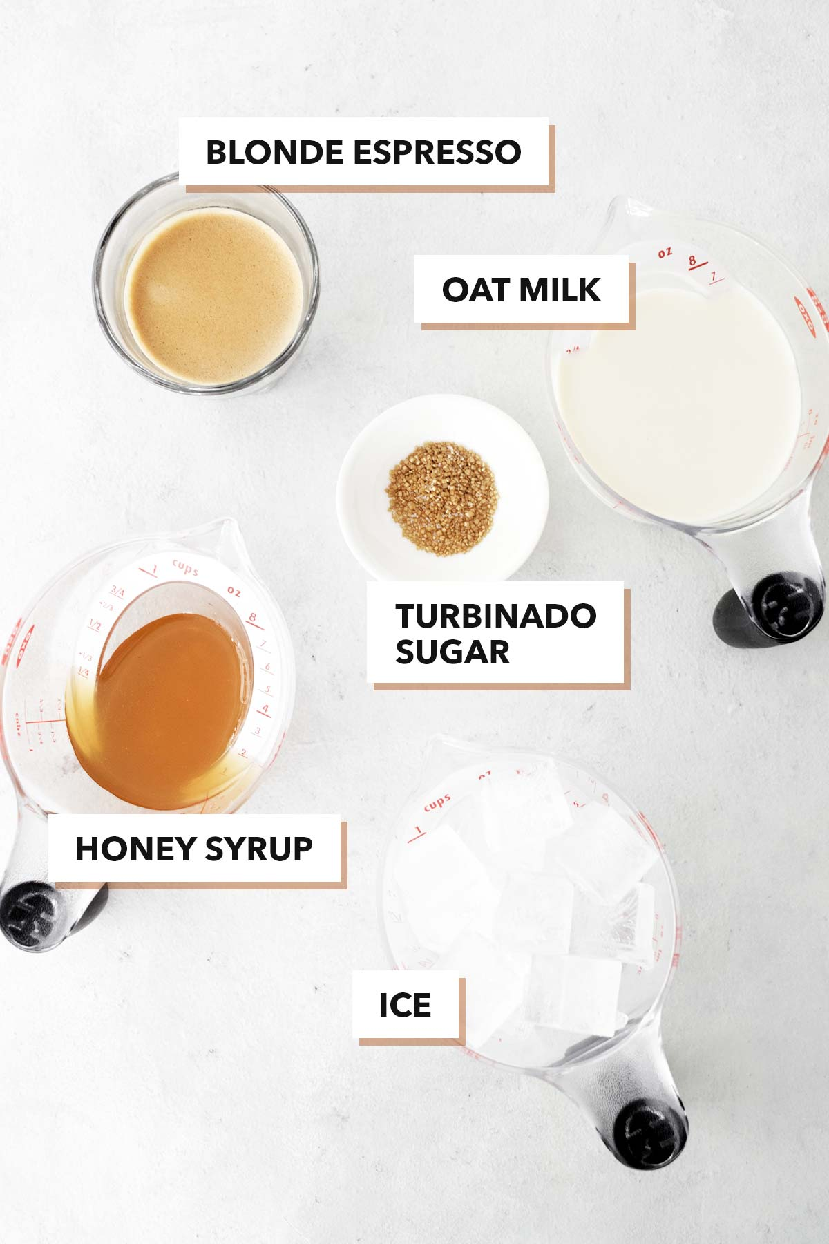 Starbucks Iced Honey Oatmilk Latte copycat drink ingredients.