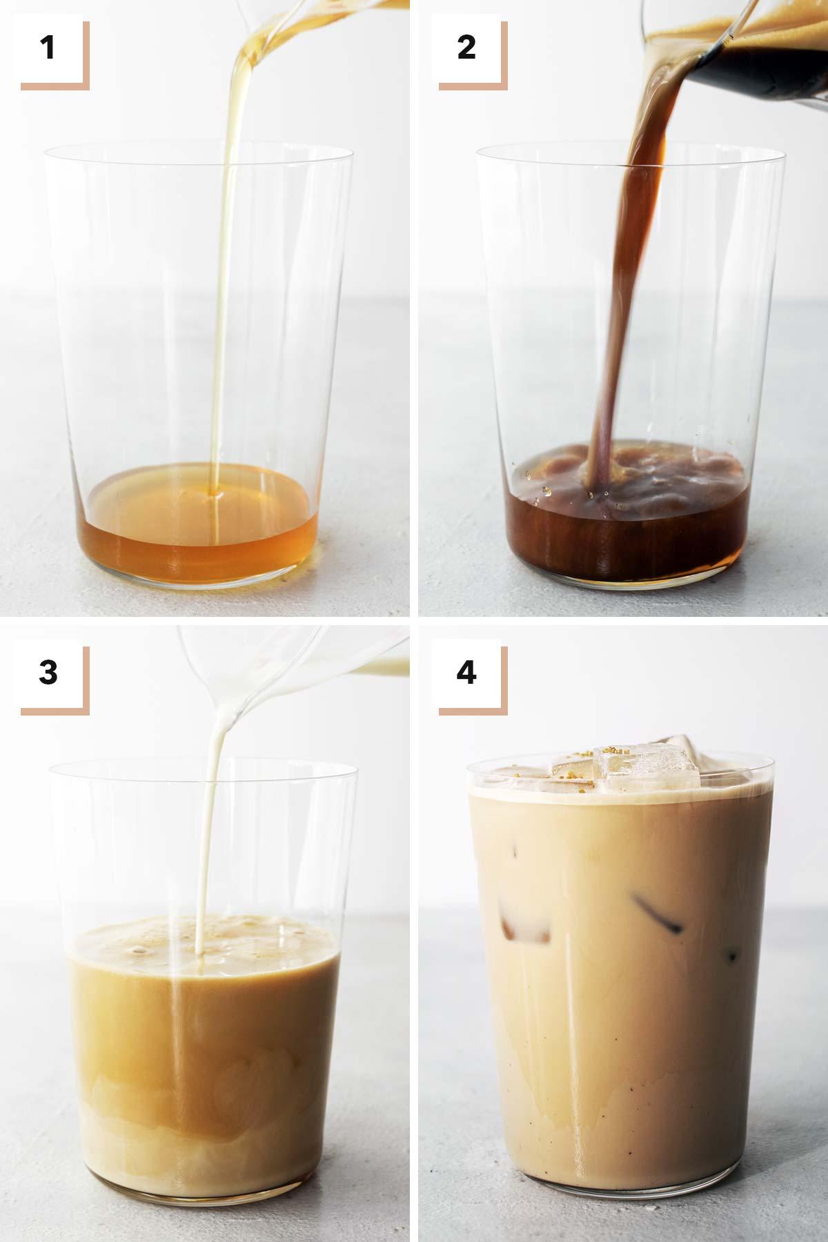 Six photos showing steps to make homemade Starbucks Iced Honey Oatmilk Latte.
