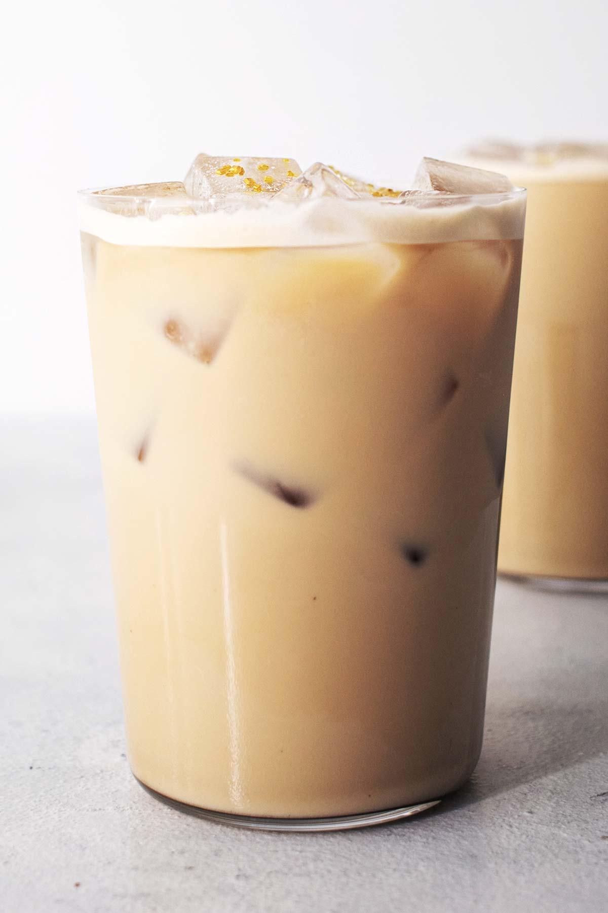Homemade Starbucks Iced Honey Oatmilk Latte drinks.