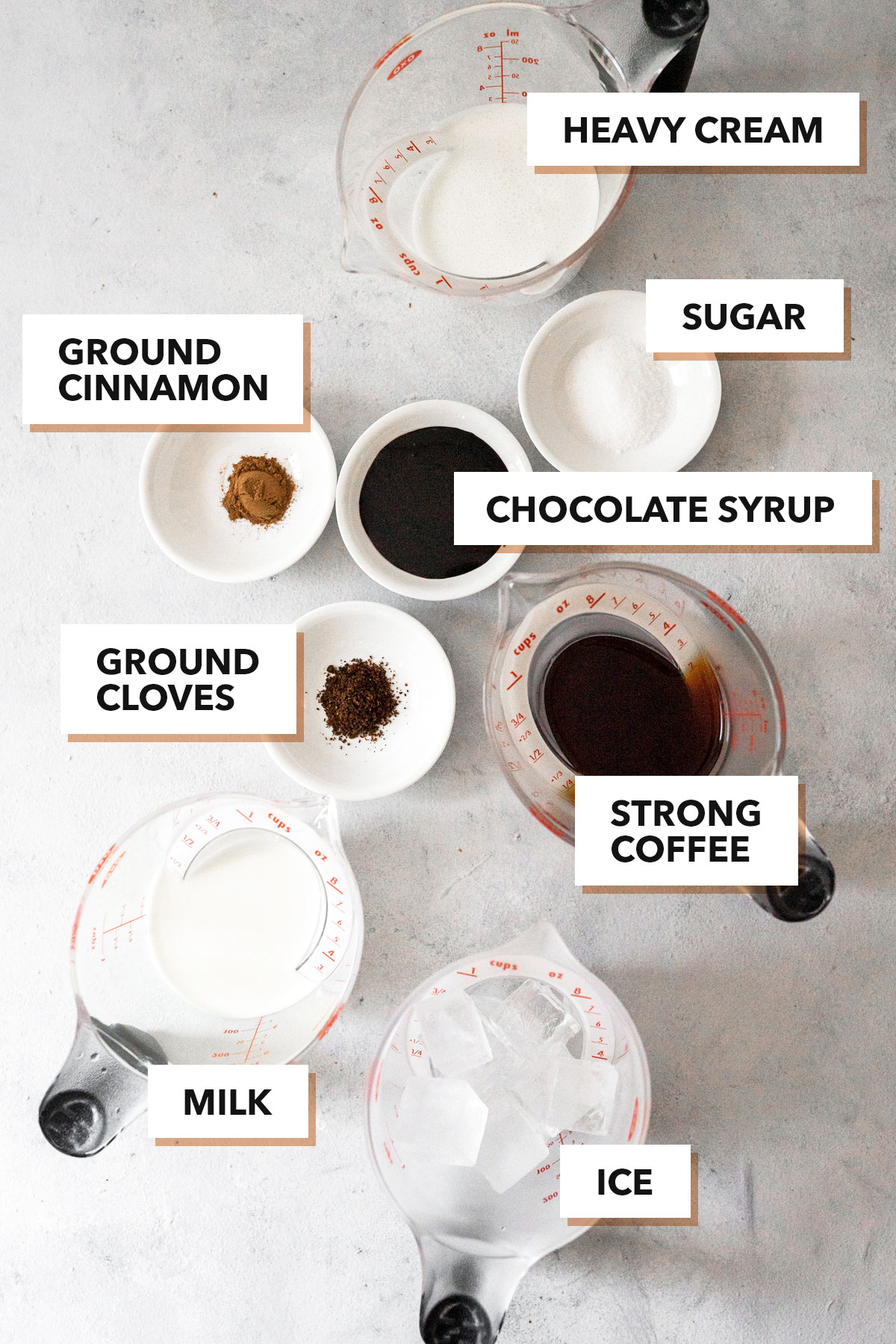 Iced Mexican coffee ingredients.