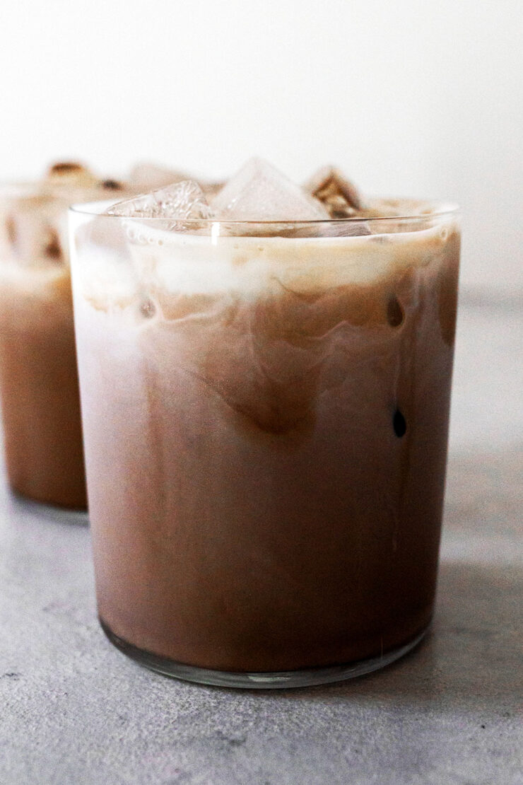 Two glass cups with iced mocha.