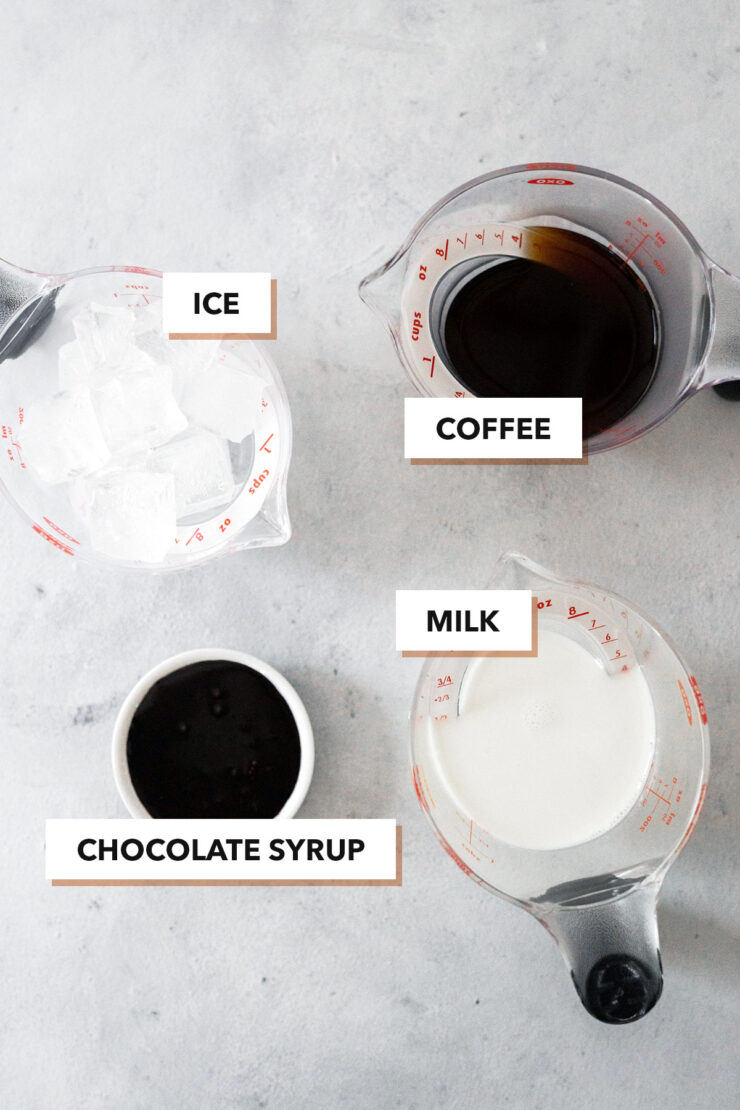 Iced mocha ingredients.